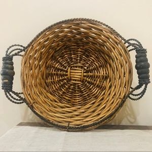 Vintage Boho Wicker Basket With Metal